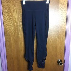 Athleta Navy Blue Leggings with Strap Detail